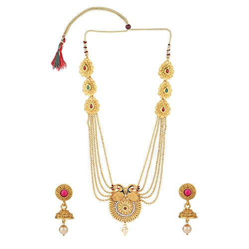 Earrings Lariat Set - Efulgenz Indian Ethnic Bollywood Traditional Faux Ruby Emerald Rhinestone Heavy Bridal Designer Multistranded Peacock Lariat Necklace and Earrings Jewelry Set for Women and Girls