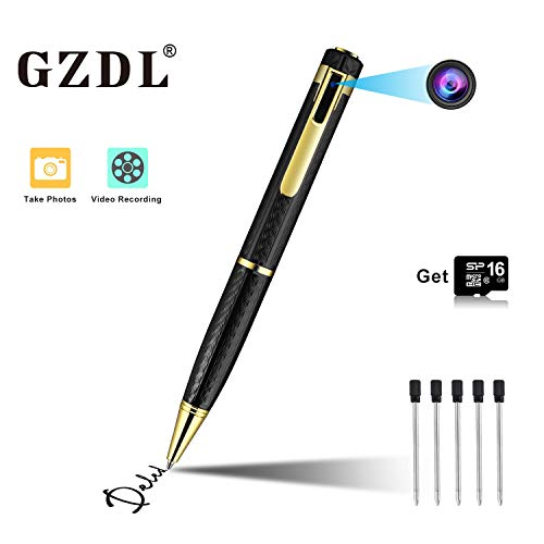 Hidden Camera Spy Camera Pen HD 1080P Camcorder Portable with 16GB Memory Card Pocket Cam Covert Camera for Business and Conference (Black) (Pen Video Camera 1080p)
