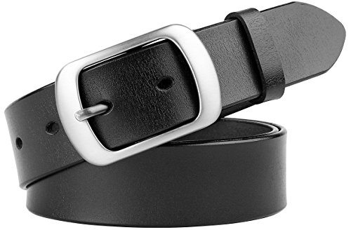 Ladies Designer Belts (Ladies Leather Dress Belts for Women Fashion Western Designer Waist Belts With Solid Pin Buckle Wide 33mm by WHIPPY)