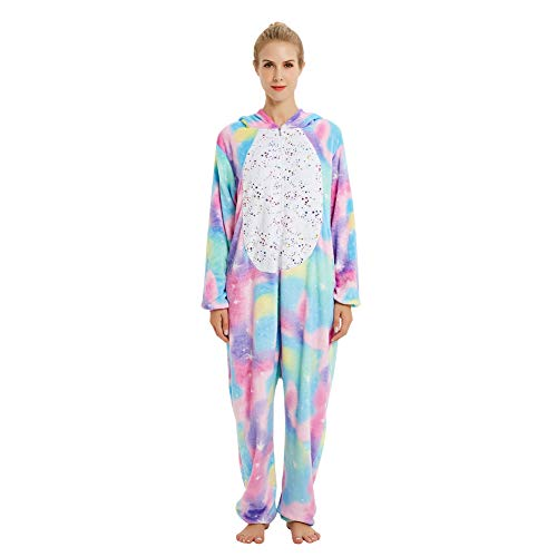 Coral Fleece Colorful Unicorn One-Piece Onesies Pajama for Unisex Kids Boy and Girls Golden Pots 140]()