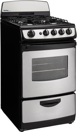 Danby DR201BSSGLP 20'' Designer Series Freestanding Gas Range with 4 Open Burners 2.4 cu. ft. Oven Capacity Electronic Ignition Push and Turn Safety Knobs Porcelain Cooktop and 2 Ove