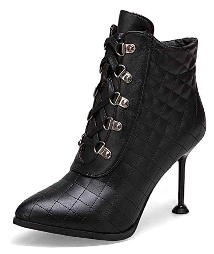 (Unm Women's Quilted Pointy Toe Booties - Lace Up Party Wedding - Stiletto High Heel Ankle Boots Black)