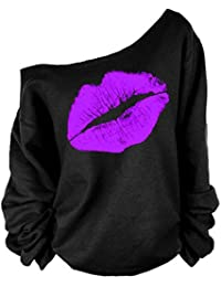Womens Lips Off The Shoulder Slouchy Sweater Pullover