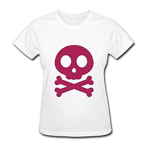 Vansty Skull Cross Bones Casual T Shirt For Girlfriend White Size -