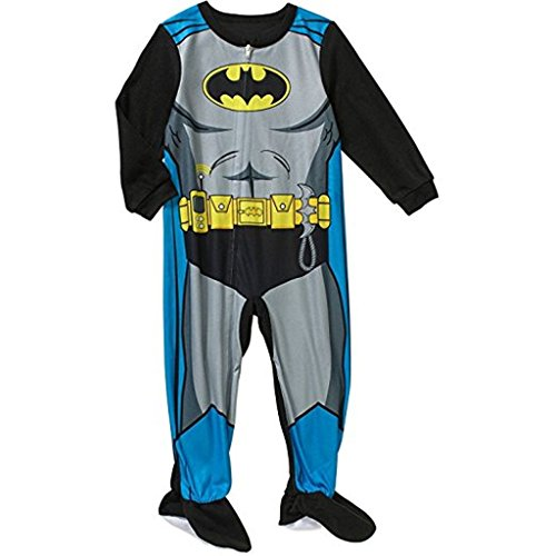 BATMAN Boy's Size 5T Fleece Footed Pajama (5t Batman Costumes)