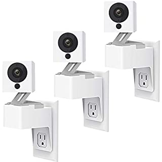 Aotnex Compatible with Outlet Wall Mount Wyze Cam V2 , Upgraded 360 Degree Swivel AC Outlet Wall Plug Mount Stand Holder Bracket Without Messy Wires or Wall Damage (3 Pack)