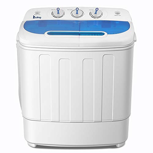 ZOKOP Portable Washing Machine for Compact Laundry Mini Semi-automatic Twin Tube Washer & Spin Dryer for Dorm Apartment College,Energy Saving Design, 110V, 8LBS Capacity - White & Blue