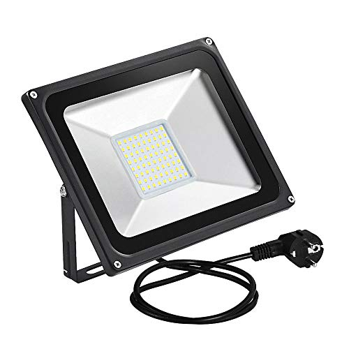 CHUNNUAN LED Flood Light,50W,5000LUMEN?2800-3200K Warm White, Waterproof, IP65, Instant On, CE and ROHS Certified?US 3-Plug Outdoor Security Lights Super Bright Floodlight