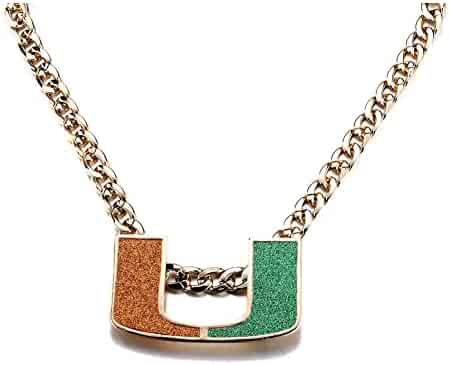 YAOHOU 18K Gold Plated Men Jewelry Necklace MIAMI HURRICANES TURNOVER CHAIN REPLICA Fans Gift (UM)