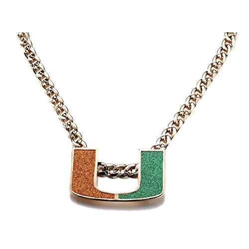 Yaohou 18K Gold Plated Men Jewelry Necklace Miami Hurricanes Turnover Chain Replica Fans Gift  Um