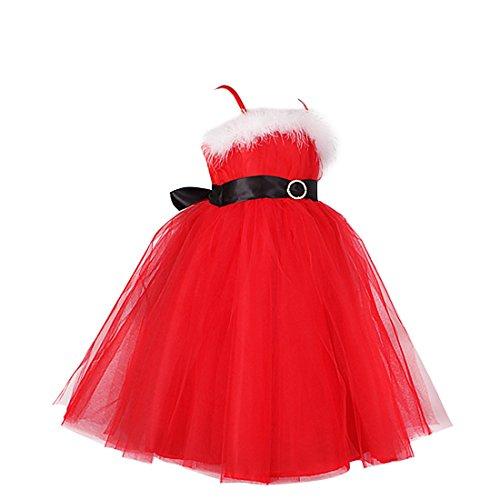 TIAOBU Girls Christmas Santa Spaghetti Straps Tulle Princess Party Costume Dress