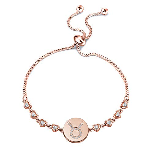 (ENSIANTH Rose Gold Zodiac Sign Adjustable Bracelet Birthday Gift for Women Girls (BR-Taurus))