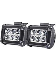 mewmewcat 2pcs 18 W luz de trabalho de carro 6000K iluminação compatível com jipes offroad SUVs barcos IP67 resistência à água lâmpada LED de alta resistência