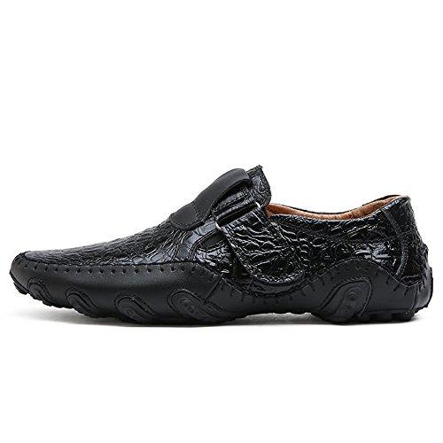 Cuero Talle de Zapatillas para shoes talón EU Meimei de el hasta Color on 47 Negro Hombres Cordones Slip tamaño con con Plano Mocasines Deporte Genuino 38 fZEHqw