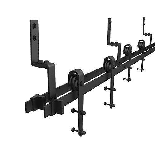 WINSOON 5/6/6.6/7.5/8/10FT Black Arrow Bypass Double Wood Door Hardware Rustic Sliding Roller Barn Closet Track Kit Set (9FT)