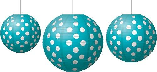 Teal Polka Dots Paper Lanterns (77103) ()