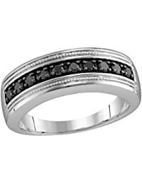 sterling silver mens round black colored diamond milgrain wedding anniversary band ring 12 cttw