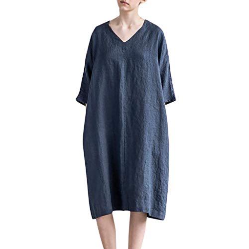 Women's Midi Cotton Linen Dress 3/4 Sleeve V-Neck Baggy Flax Dresses Loose Fitting Tshirt Dress Plus Size Summer Causal Knee Length Blouses Tops Tank Dress Soft Breathable Tunic Dress