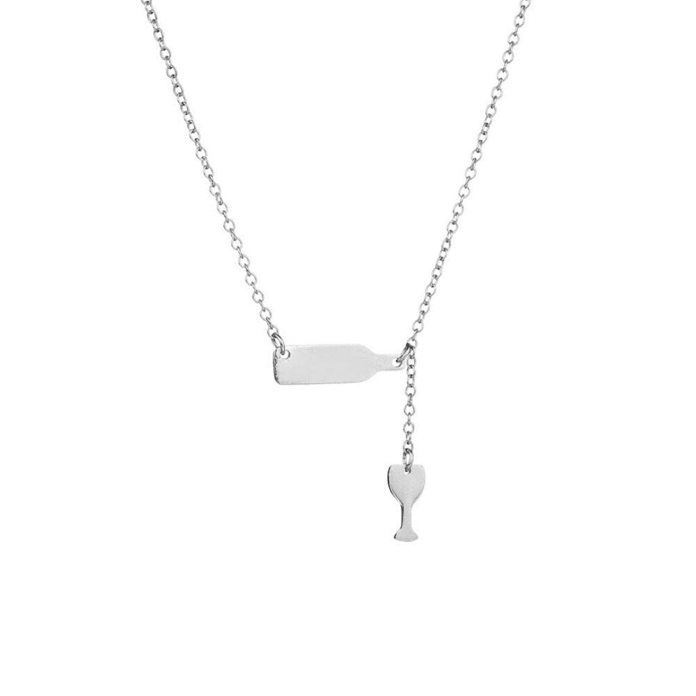 Hmlai Clearance Couple Necklace, Wine Bottle Cup Long Pendant Y-Necklace Choker Chain (Silver)