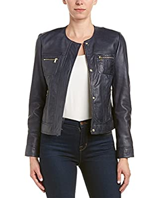 Cole Haan Women's Collarless Leather Trucker Jacket