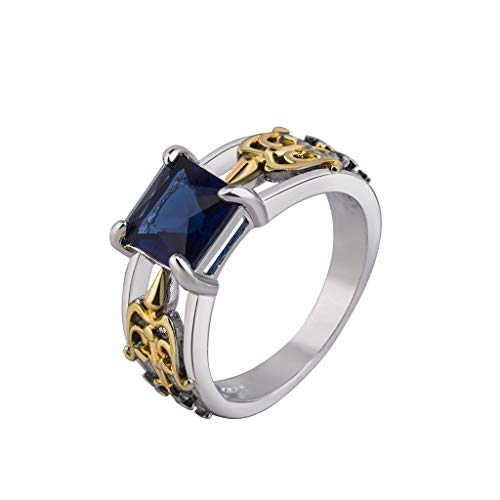winsopee Vintage Geometric Unique Creative Bow and Arrow Sapphire Ring Women Natural Luxury Engagement Promise Ring Jewelry (Gold,10)