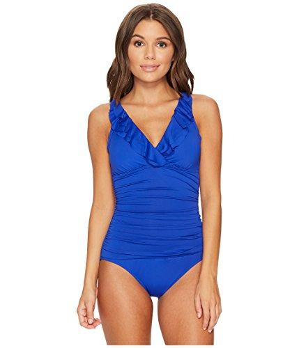 (Lauren Ralph Lauren Women's Beach Club Ruffle Mio One-Piece Capri Blue 4)