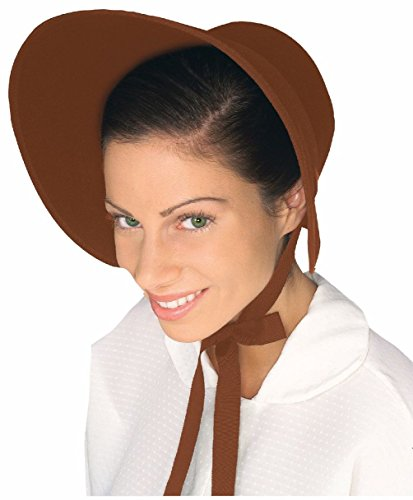 Brown Red Felt Colonial Pilgrim Ladies Hat Amish Mennonite Quaker Costume Bonnet