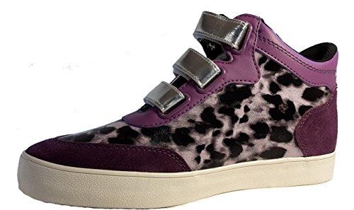 3-W-Hohenlimburg Topmodische Damen Sneakers Übergangsschuhe mit dreifachem Klettverschluß. Schwarz oder Purple-Pink. Damenschuhe, SNE103, Schuh für Damen. Pfiffige Schuhe Zum Auffallen. Purple/pink.