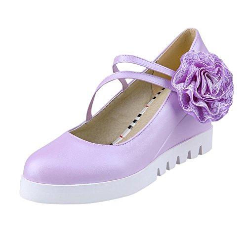 Latasa Femmes Adorable Fleur Mignonne Appliques Chaussures À Talons Hauts Talon Chaussures Violet