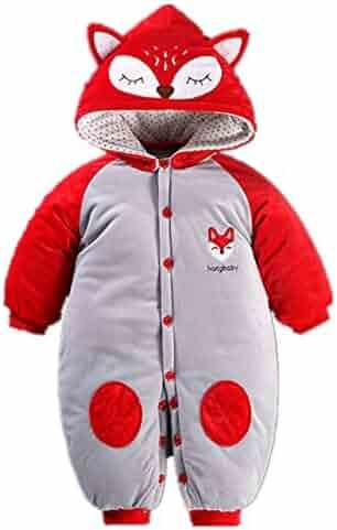 977b57431 Beide Toddler Baby Boys Girls Cartoon Animal Thick Romper Warm Bodysuit  Playsuit for Autumn Winter