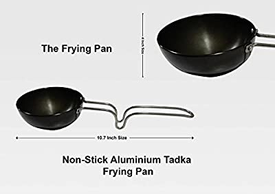 Essential Non-stick Aluminium Tadka Frying Pan / Spice Heating Pan, 10.7 Inch Black Color, Easter Day / Mother Day / Good Friday Gift