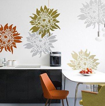 Flower Stencil Chrysanthemum Grande LG - Wall Stencils fo...