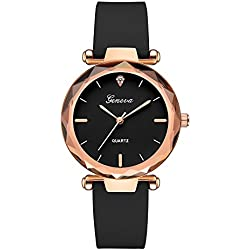 Clearance Sale!DEESEE(TM)Fashion Womens Ladies Watches Geneva Silica Band Analog Quartz Wrist Watch (Black)