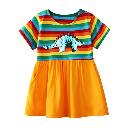 (Girls Short Sleeve Cotton Stripe Change Sequin Dinosaur Tunic Shirt Skirt Dress)