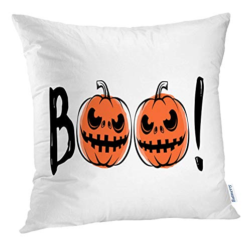 (Batmerry Halloween Pillow Covers 18x18 inch, Halloween Sound Grunge Scary Retro Greeting Motivational Quote Party Throw Pillows Covers Sofa Cushion Cover)