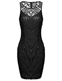 ACEVOG Women's Sequin Illusion Neckline Bodycon Sheath Party Cocktail Lace Dress