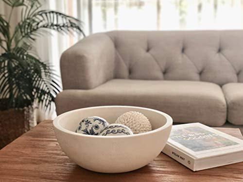 """Decorative Fruit Bowl for Kitchen or Dining Room, Concrete, White - Extra Large Food Bowls for Snacks, Candy - Handmade Kitchen Accessories for Tables and Countertops, 12"""" Diameter by Brawton Bay (Image #4)"""