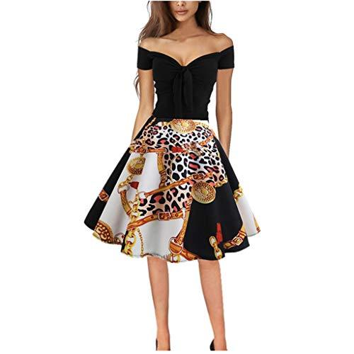 Dress for Women Elegant Party 2019 Vintage 1950s Retro Off Shoulder Printing Evening Prom Swing Dresses (Handbag Hobo Belted)
