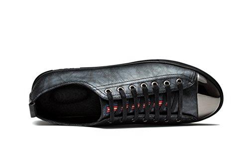 Mænds Mode Sko Afslappet Ægte Læder Sneakers, Lace-up Metal-tå Design Sølv Sort
