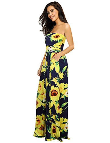Leadingstar Strapless Long Party Floral Dress Women Graceful Maxi Blue Print Vintage sunflower 5rw5ng8q