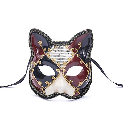 TTXST Halloween Mask Venice Big Cat Half Face Mask Animal Party Mask Europe and America Fox Masquerade,Red