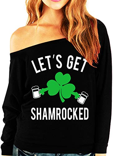 NoBull Woman Apparel Let's Get Shamrocked St. Patrick's Day Slouchy Light Weight Shirt (Large) ()