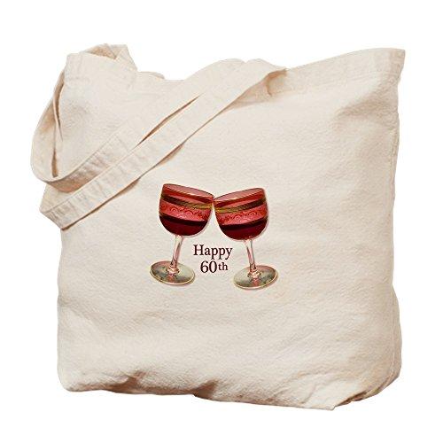 CafePress–Happy 60. Geburtstag Wein Gläser–Leinwand Natur Tasche, Reinigungstuch Einkaufstasche Tote S khaki