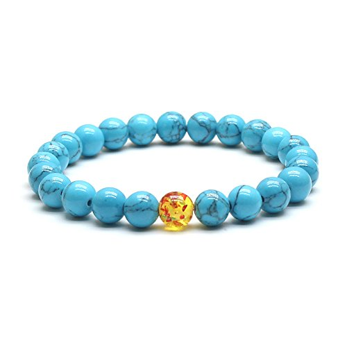 Weelovee Mens Women Chakra Buddha Stretch Bracelet Real Nature Blue Turquoise Bead Stones Semi-Precious (One Yellow Bead (Semi Precious Blue Bracelets)
