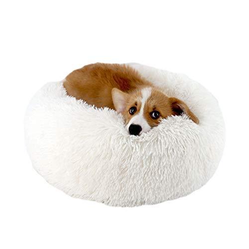- ALLNEO Original Cat and Dog Bed Luxury Shag Fuax Fur Donut Cuddler Round Donut Dog Beds Indoor Pillow Cuddler for Medium Small Dogs