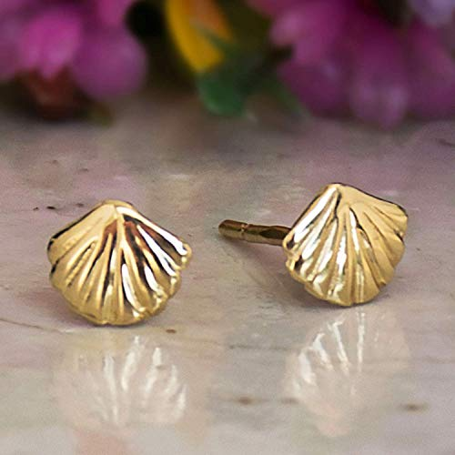 14K Gold Seashell Stud Earrings, 14K Solid Yellow Gold Dainty Sea-Shell Studs, Tiny Handmade Dainty Jewelry, Pushback Closure Earrings, Simple Birthday Minimalist Gift for Girls and Ocean Lovers