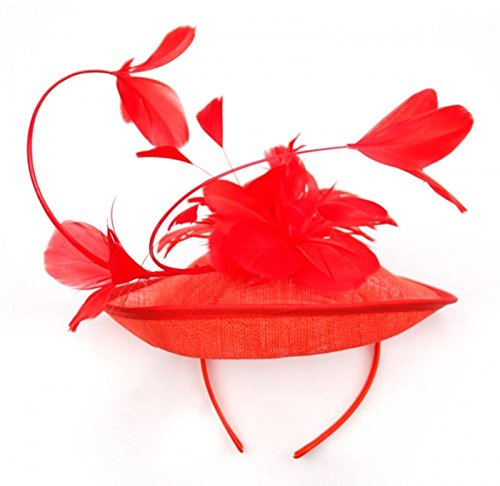 Symphony Bridal Veil (Womans Classy Fascinator Headpiece with Blossoming Tulip flower Design and ribbon - Sinamay fabric -)