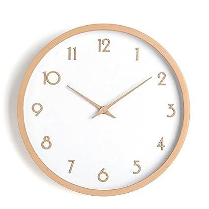Los países nórdicos reloj de pared de madera maciza salón minimalista moderno beech reloj mesa de