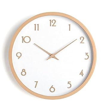 Los países nórdicos reloj de pared de madera maciza salón minimalista moderno beech reloj mesa de pared dormitorio Ikea reloj de cuarzo japonés 10
