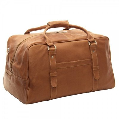 Piel Leather Large Top-Zip Duffel Bag, Chocolate, One Size by Piel Leather